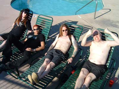 Ginger, CJ, Stidi and Jon by the pool