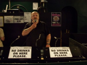 Shirt's stand up routine was without equal. (notice the signs at a 45 degree angle warning people not to place drinks there)