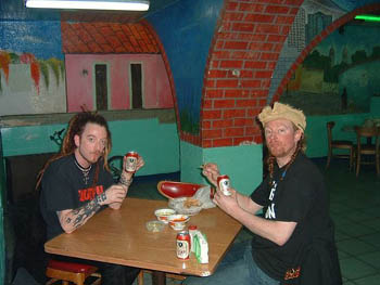 Me and Hot Steve eating ridiculously cheap food in Mexico